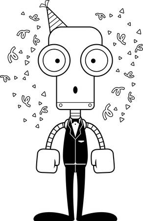 A cartoon party robot looking surprised.