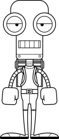 bore: A cartoon hiker robot looking bored.