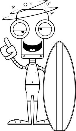 cartoon bathing: A cartoon surfer robot looking drunk.