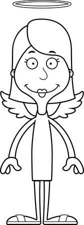 angel: A cartoon angel woman smiling. Illustration