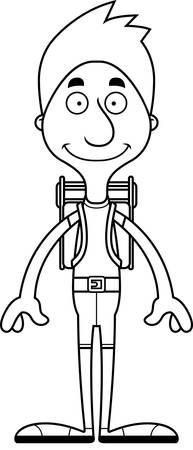 A cartoon hiker man smiling. Illusztráció