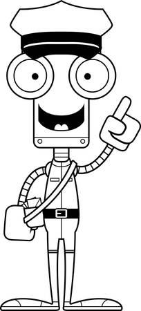 talking robot: A cartoon mail carrier robot with an idea.