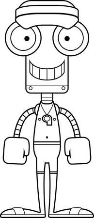 漫画ライフガード ロボット笑顔。  イラスト・ベクター素材