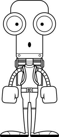 hiker: A cartoon hiker robot looking surprised. Illustration