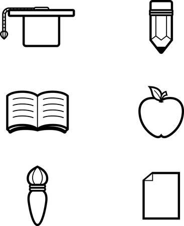 アイコンのデザインや教育をテーマにしたイラスト。