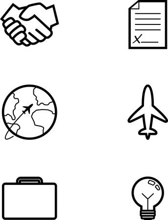 Icon designs and illustrations with a business theme.