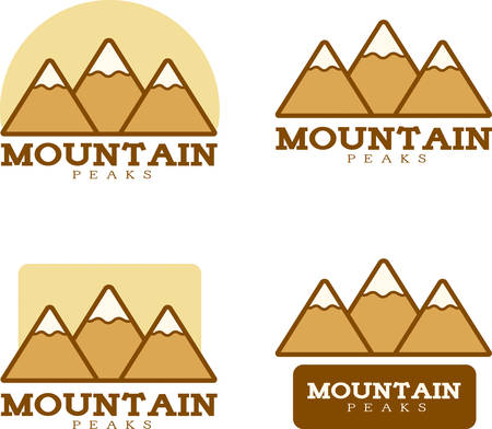 Icon designs and illustrations with a mountain theme.