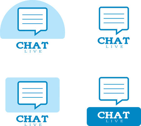 Icon designs and illustrations with a chat theme.