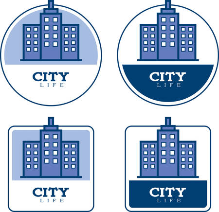 Icon designs and illustrations with a city theme. Çizim