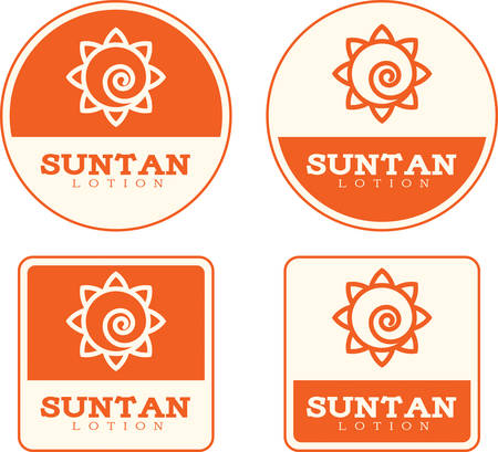 Four icon designs and illustrations with a suntan lotion theme. Illustration