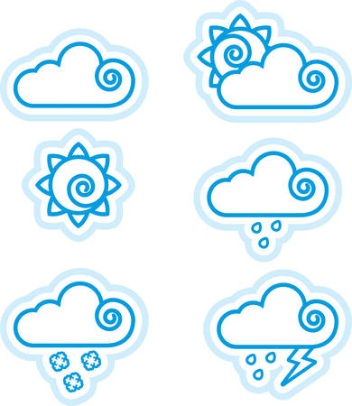 Six icon designs and illustrations with a weather theme. Иллюстрация