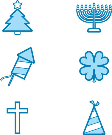 christmas in july: Icon designs and illustrations with a holiday theme. Illustration