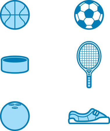 Icon designs and illustrations with a sports theme. 向量圖像