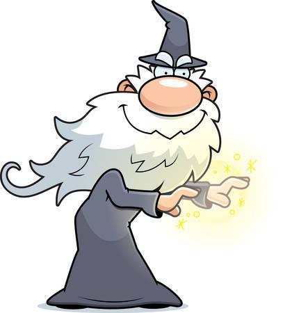 casting: A cartoon illustration of a wizard casting a spell. Illustration