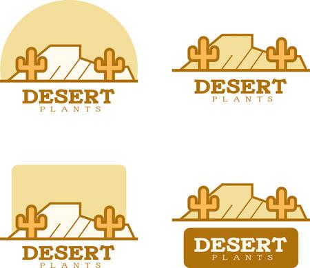 アイコンのデザインと砂漠をテーマにしたイラスト。