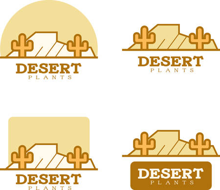 Icon designs and illustrations with a desert theme. Ilustração