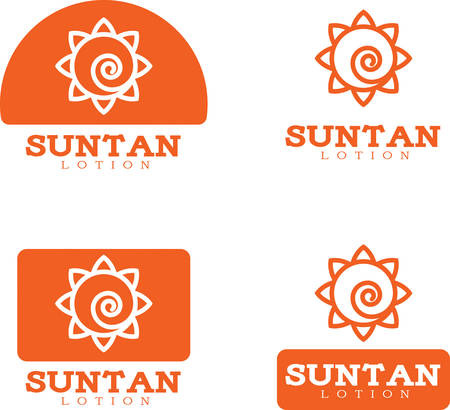 Four icon designs and illustrations with a suntan lotion theme. Иллюстрация