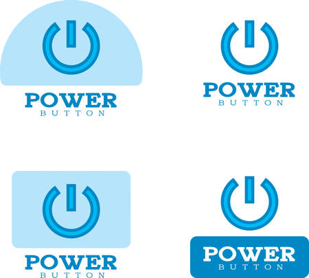 Icon designs and illustrations with a power button theme.