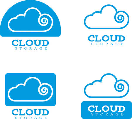 storage: Four icon designs and illustrations with a cloud storage theme.