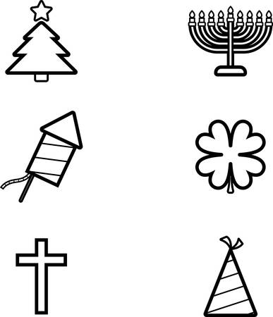 Icon designs and illustrations with a holiday theme. 向量圖像