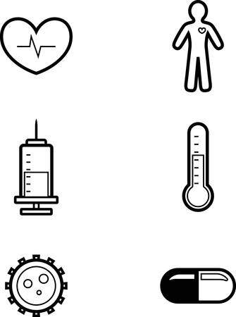 Icon designs and illustrations with a medical theme.
