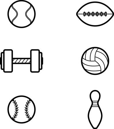 Icon designs and illustrations with a sports theme. Illustration