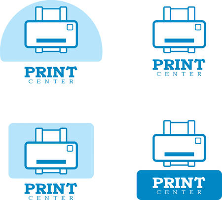 Icon designs and illustrations with a printing theme.