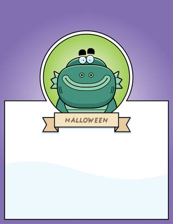 merman: A cartoon illustration of a Halloween graphic with a creature. Illustration