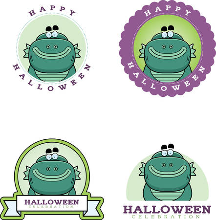 A cartoon illustration of a Halloween graphic with a creature. Çizim