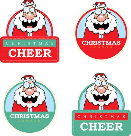 santa claus cartoon: A cartoon illustration of a Christmas graphic with Santa Claus.