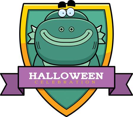 A cartoon illustration of a Halloween graphic with a creature. Ilustração