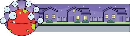 monsters house: A cartoon illustration of a Halloween graphic with a monster.