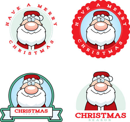 claus: A cartoon illustration of a Christmas graphic with Santa Claus.