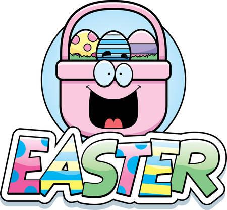 Een cartoon afbeelding van een Paas mand in een Pasen thema graphic.