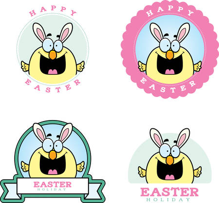baby chick: A cartoon illustration of a baby chick dressed as the Easter Bunny in an Easter themed graphic.