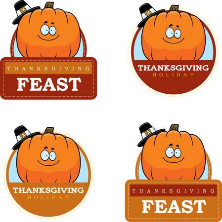 Een beeldverhaalillustratie van een Thanksgiving grafisch met een pompoen.
