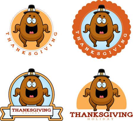 Een cartoon illustratie van een Thanksgiving grafisch met een kalkoen.