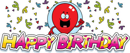 party cartoon: A cartoon illustration of a balloon with a birthday themed graphic.