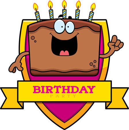 A cartoon illustration of a cake with a birthday themed graphic.