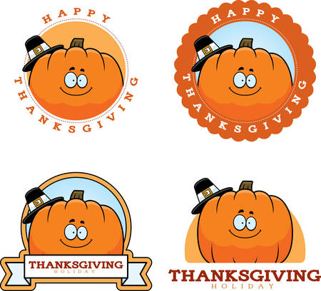 Een cartoon illustratie van een Thanksgiving grafisch met een pompoen.
