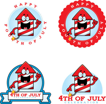 A cartoon illustration of fireworks in a 4th of July themed graphic.