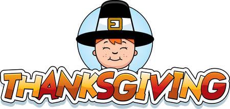 A cartoon illustration of a Thanksgiving graphic with a Pilgrim boy. Illusztráció