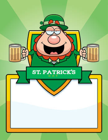A cartoon illustration of a drunk leprechaun in a St. Patrick's Day themed graphic. Vector Illustration