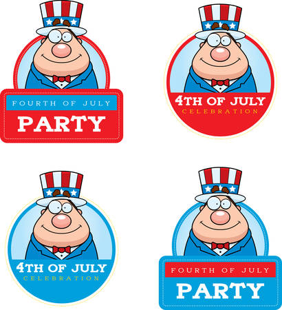 A cartoon illustration of a patriotic man in a 4th of July themed graphic. 版權商用圖片 - 50550750