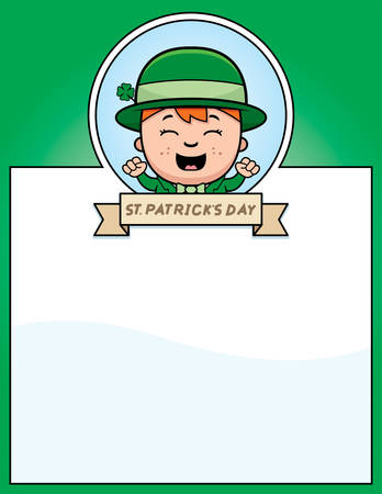 patrick's: A cartoon illustration of a leprechaun boy in a St. Patricks Day themed graphic. Illustration