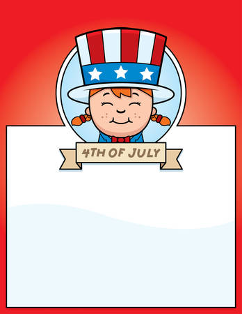 A cartoon illustration of a patriotic girl in a 4th of July themed graphic.