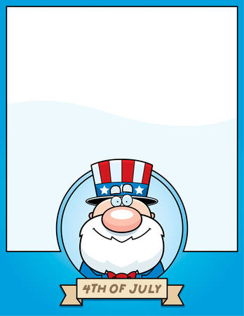 A cartoon illustration of a patriotic man in a 4th of July themed graphic. 版權商用圖片 - 50550802