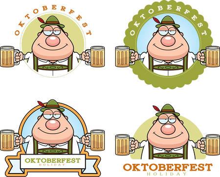 drunk cartoon: A cartoon illustration of a drunk man in an Oktoberfest themed graphic.