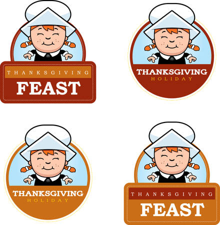 A cartoon illustration of a Thanksgiving graphic with a Pilgrim girl.
