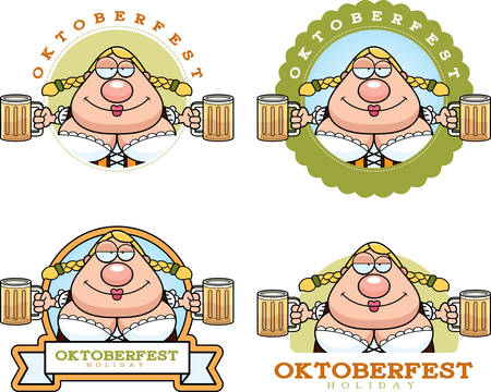 intoxicated: A cartoon illustration of a drunk woman in an Oktoberfest themed graphic.